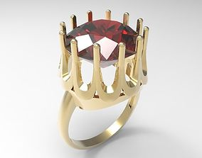 Ring Ruby in the crown STL 3D print model