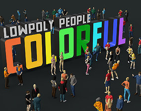 Lowpoly People Colorful 3D asset