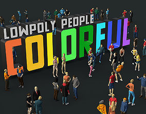 Lowpoly People Colorful 3D model game-ready