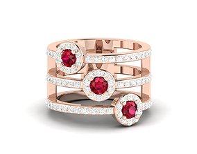 jewelry Women cocktail ring 3dm render detail