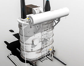 Power Transformer - White - PBR 3D asset