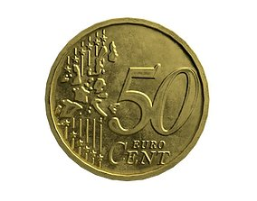 3D model 50 cents coin