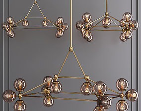 3D model Modo Rectangle Chandelier 14 Globes Brass and 1