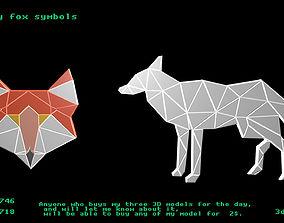 3D model Low poly fox symbols
