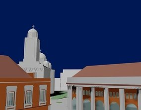 Public square with church 3D model