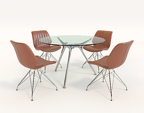 Contemporary Design Table and Chair Set 7 3D