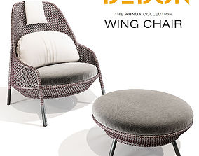 3D DEDON AHNDA Wing Chair and Footstool