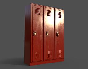 PBR School Gym Locker 01 - Red 3D model
