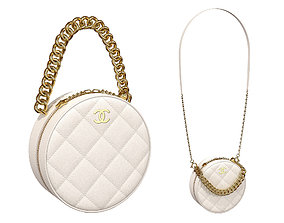 3D asset Chanel Bag Round Earth Small logo White