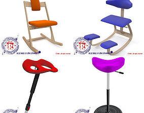 ergonomic stools collection 3D model