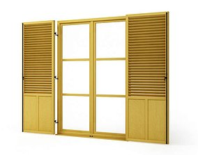Wooden window shutters 76 am95 3D