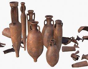 3D model Amphora - Damaged Red Terracotta