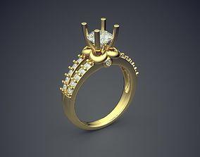 Impressive Dainty Golden Engagement Ring 3D print model 1
