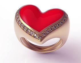 3D print model Ring Red Enamel Heart
