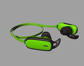earphones 3D print model Green bluetooth headset