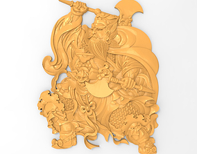 Chinese warrior axeman bas relief for 3D print model