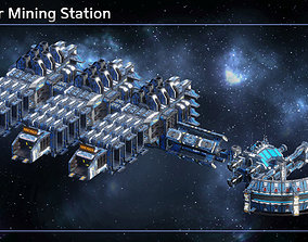 Modular Corporate Mining Space Station 3D asset low-poly