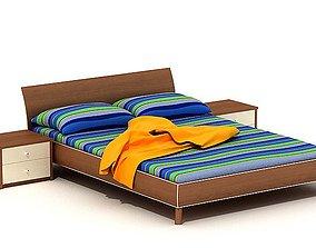 3D model Striped Sheet Queen Bed