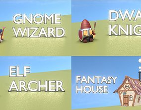 Fantasy Group - Funny Team with Funny House 3D asset