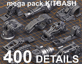 Mega Pack Hard Surface Kitbash 400 DETAILS 3D