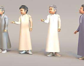 3D 4x Arabic real cloth simulation loop animated boys