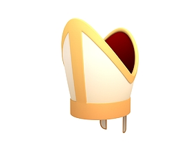 3D model low-poly Pope Hat