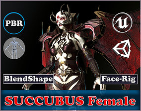 rigged Succubus Female Game Ready Low-poly 3D