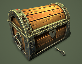 magic chest lootbox 3D asset game-ready