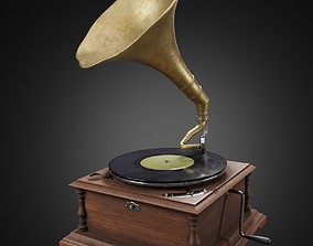 Gramophone or phonograph and platter record 3D model