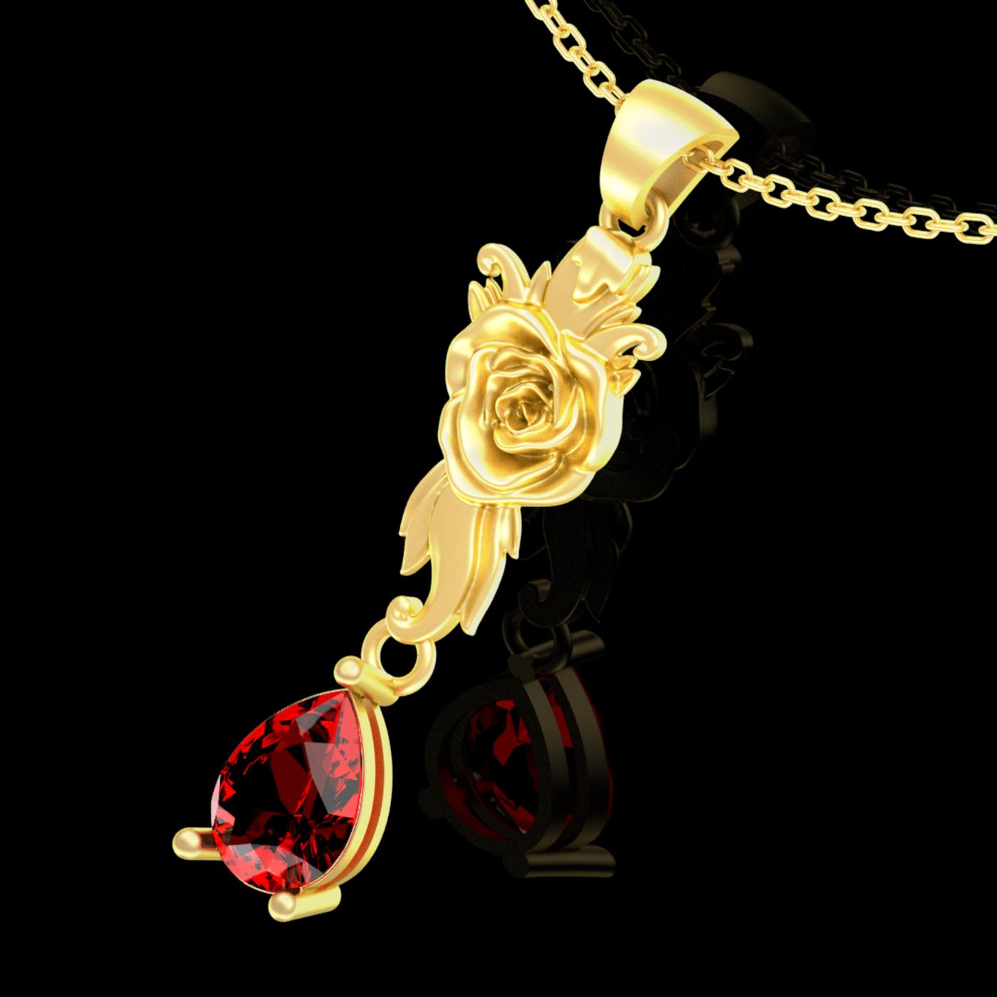 Single Flower Pendant jewelry Gold 3D print model