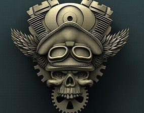 Biker Skull 3d stl model for CNC