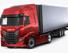 italian Iveco S-Way 2020 with trailer 3D