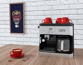 Coffee Machine DeLonghi BCO430 with cups on a 3D model