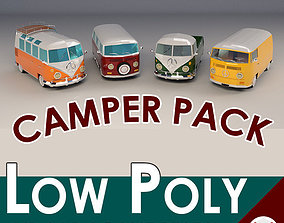 Low-Poly Cartoon Camper Pack 3D model