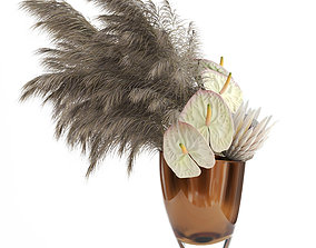 Anthuriums and Protea with Pampas grass 3D model