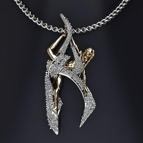 ballerina dance ribbon pendant