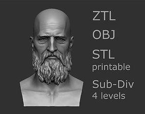 Elderly male head 3D model