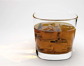 Whisky glass with liquid and ice cubes 3D