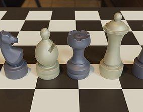 3d Printable Chubby Chess Set OBJ 3MF STL