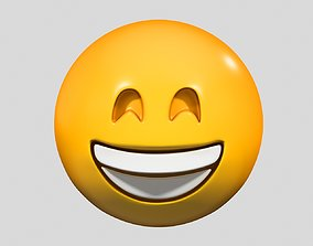 faces 3D model Emoji Grinning Face with Smiling Eyes