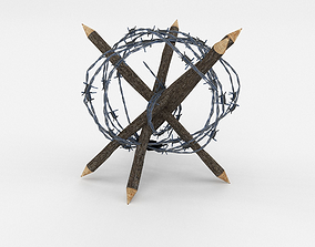 3D asset Lowpoly Barb Wire Obstacle