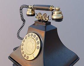 retro vintage landline telephone 3D asset VR / AR ready