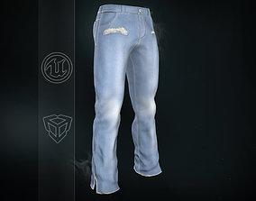 Light Blue Ripped Jeans 3D asset