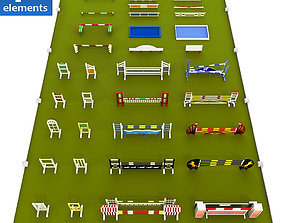 3D model Horse jump obstacle full pack