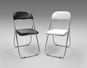 Folding chair black white - conference - office - 3D model
