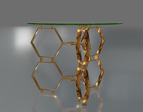 3D Honeycomb Glass Side Table