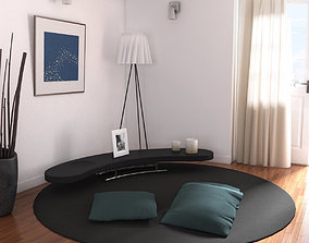Carpet Coffee Table and Cushions 3D