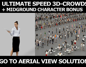 3d crowds and Mirage Midground Business Woman Handing a