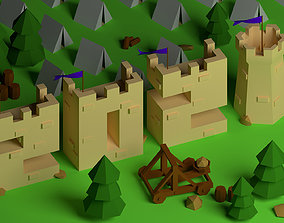 3D asset Isometric Castle in shape of 2021