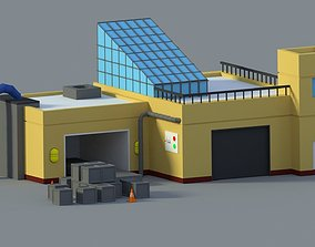 Low Poly Cartoon Factory 3D asset